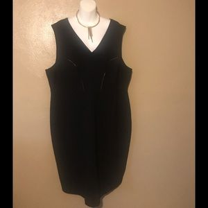 Tart black dress size 4X, faux leather trimming